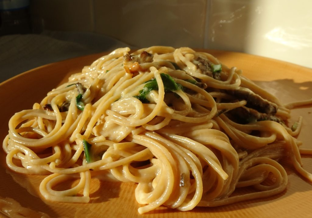 Creamy Morel and Wild Garlic Spaghetti