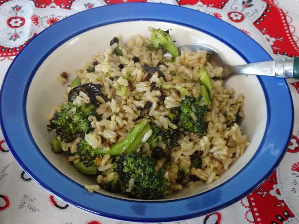Wood ear mushroom, Rice, Broccoli
