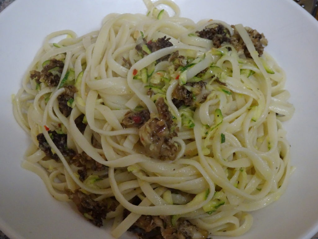 Cauliflower fungus spaghetti