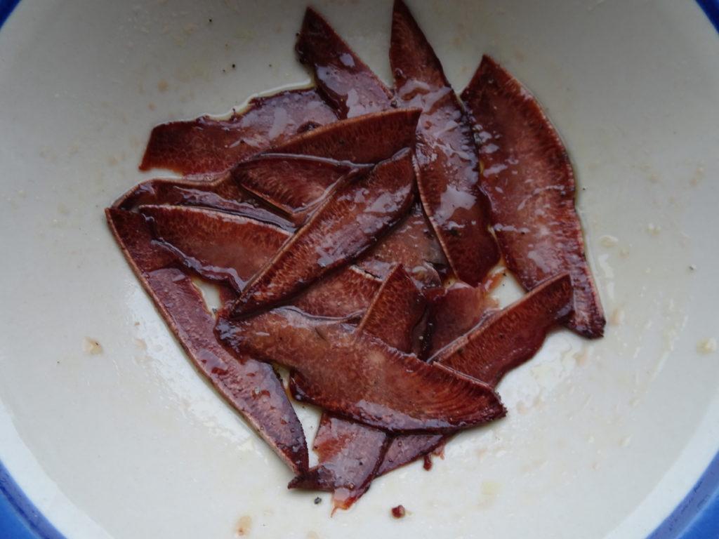 Marinating Beefsteak fungus
