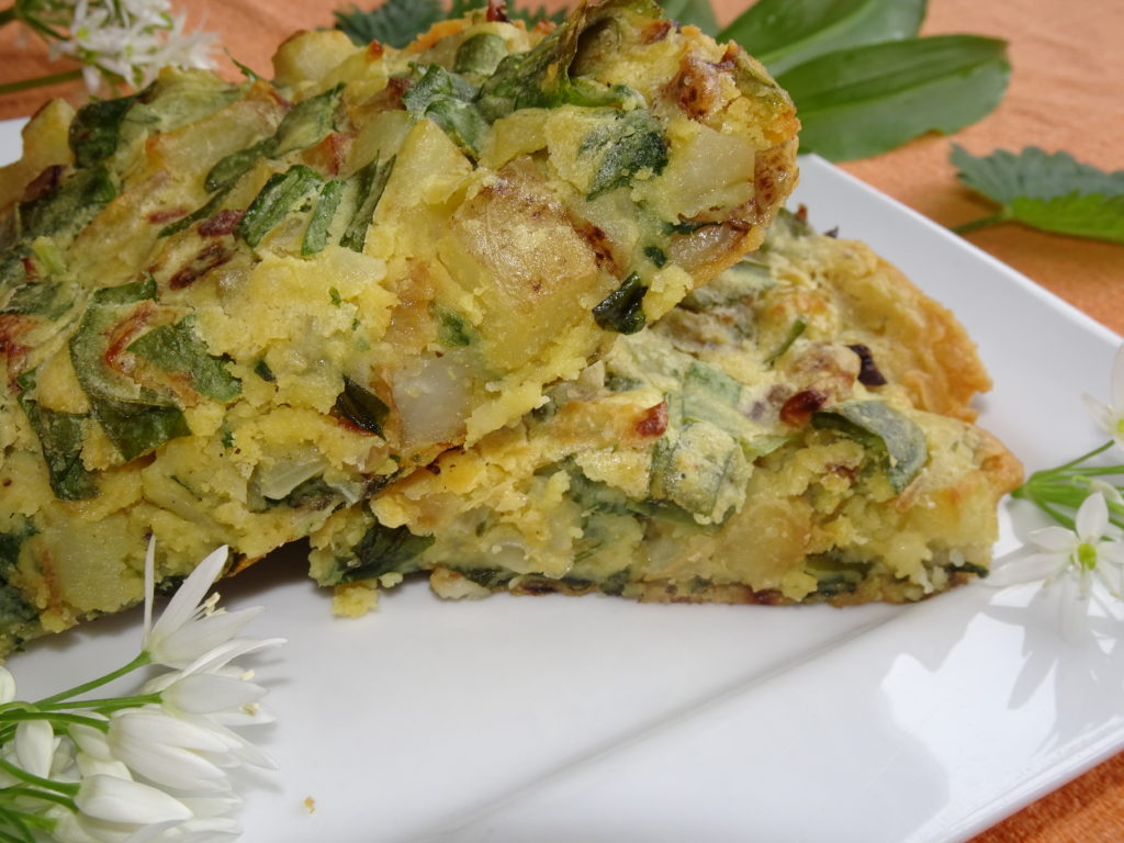 eggless spanish tortilla with nettles and wild garlic
